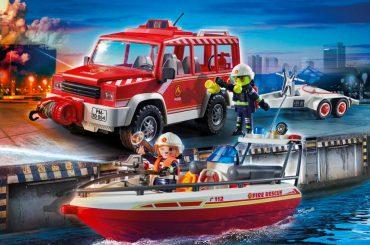 Set véhicule et bateau de pompiers Playmobil 70054
