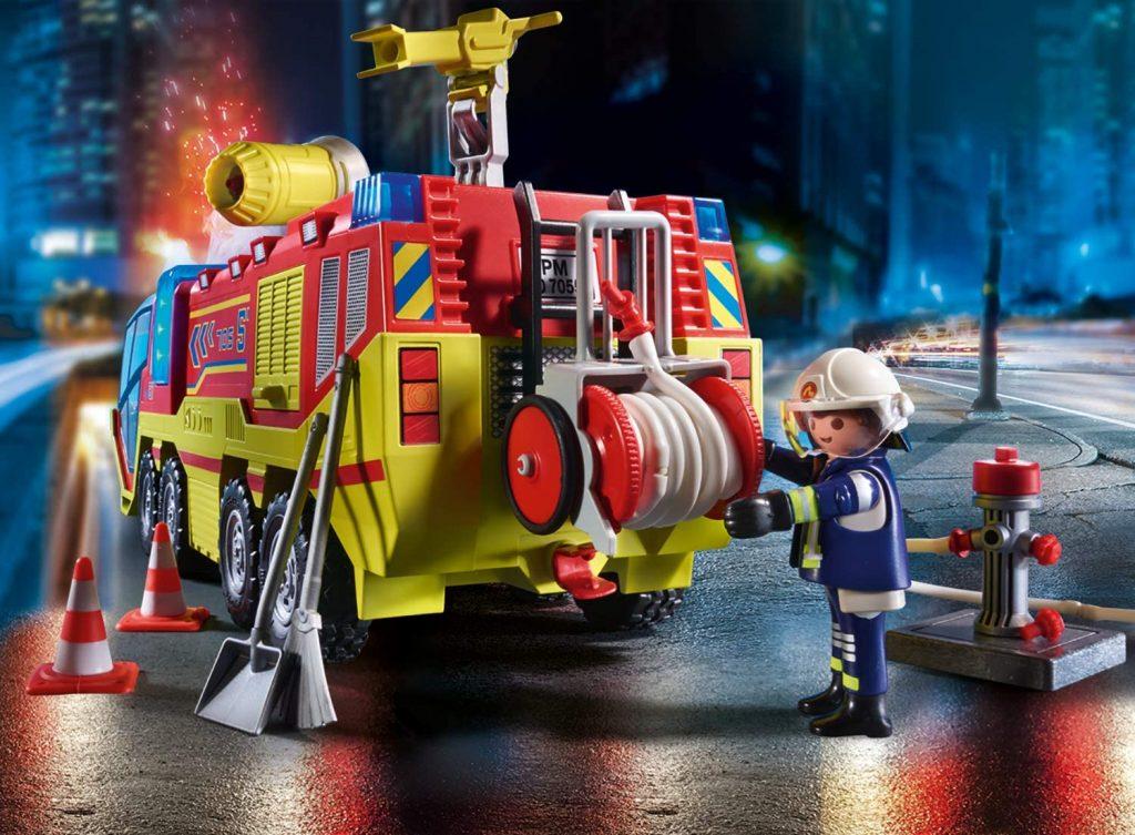 Camion de pompiers et véhicule enflammé Playmobil 70557